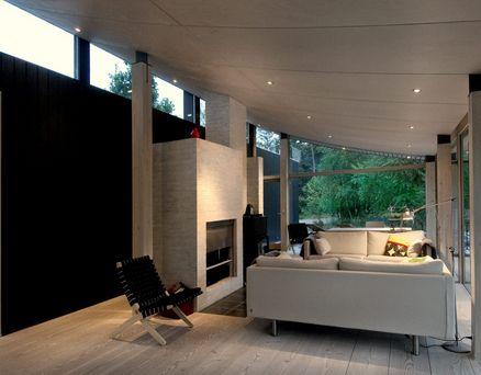 Aerodynamisk sommerhus med 15 meter lang stue for Wohnwand 3 meter lang